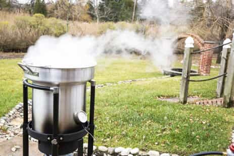 Deep frying turkey.